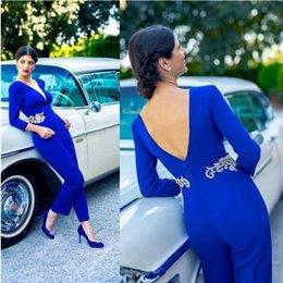 $enCountryForm.capitalKeyWord NZ - Arabic Dubai Elegant Blue Jumpsuits Prom Dresses Long Sleeves Sexy Open Back Evening Party Gowns Lace Appliqued Women Formal Wear 2019
