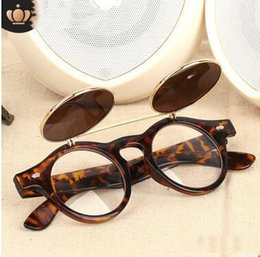 clamshell sunglasses Australia - Factory steampunk sunglasses can be clamshell round double sunglasses vintage sunglasses wholesale 3010 High quality glasses with case