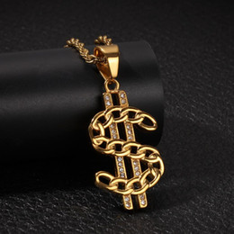 $enCountryForm.capitalKeyWord Australia - Gold Bling Diamond US Dollar Money Pendant Necklace Cuban Chain for Men Hip Hop Rapper Bijoux Mens Chains Jewelry Gifts for Guys for Sale