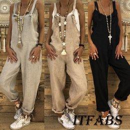 Wholesale summer linen trousers women resale online – Summer Women Lady Clubwear Loose Bodysuits Cotton Linen Playsuit Party Jumpsuit Romper Long Trouser Overall New Fashion