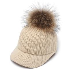 f43b099e47a4e ROSELUOSI Autumn Winter Baseball Caps For Women Real Raccoon Fur Pom Poms  Knitted Hat Casual Solid Color Bone Feminino  17216