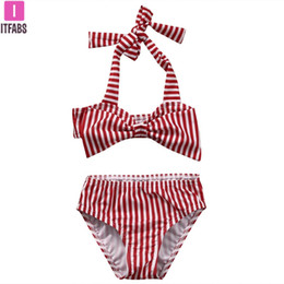 $enCountryForm.capitalKeyWord Australia - Toddler Baby Girl Clothes Summer Striped Swimsuit Bikini Set Kids Little Girl Bowknot Halter Swimming Bathing Suit Swimwear 1-6T