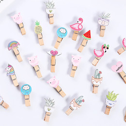 $enCountryForm.capitalKeyWord Australia - 10 Pcs Set Cute Cartoon Animals Series Wooden Clip Photo Clips Party Decoration Clip with Rope