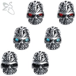 Chinese  ZS Men's Skull Punk Earrings with 3 Color Zirconia Eyes Stainless Steel Rock Roll Stud Earrings Hip Hop Small Earrings Jewelry manufacturers