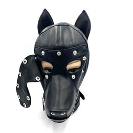 Bdsm Head Mask UK - Soft Leather Bondage Dog Head Hood Headgear Face Mask Detachable Eyepatch Adult Slave BDSM Bed Games sex Toy