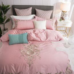 $enCountryForm.capitalKeyWord Australia - Jacquard satin bedding sets king queen size 4pcs pink white Embroidered bedlinens duvet cover bed sheet bedclothes cover pillowcases