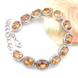 Wholesale Luckyshine Classic Fashion Jewelry Gift Fire Oval Morganite pendants 925 Silver Vintage Bracelets Bangles For Women Holiday Wedding Party