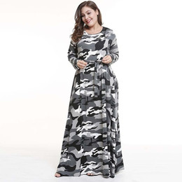 3284948a891 Bohemian camouflage Long Printed Party Plus Size 3XL 4XL Dress Women O-Neck  Long Sleeve Autumn Floral Maxi Dress Jurken A-Line
