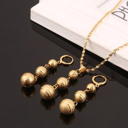 Golden Ball Jewelry Australia - Bead Pendant Necklaces & Earrings Sets for Women Teenage Girls Gold Color Round Ball Jewelry Party Gifts