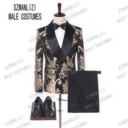 Novo Design 2019 Custom Made Slim Fit Mens Moda Bordado de Ouro Vestido de Terno Duplo Breasted Do Casamento Do Noivo Traje de Smoking