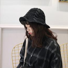 $enCountryForm.capitalKeyWord Australia - 2018 Winter Bucket Hat Knitted Fisherman Warm Hats Black Khaki Beige Lady Knitting Bucket Hats Warm For Women Wholesale