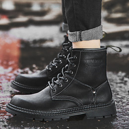 High Top Work Boots Australia - Hot Sale High Top Tooling Shoes Men Work Boots Classic Fashion Black Comfort&warm Martin Boots Ankle Botas Hombre Big Size 38-47