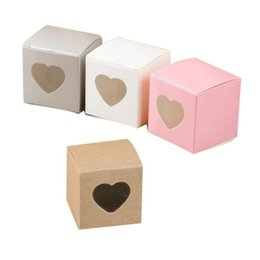 Cupcake Boxes Kraft Paper Australia - 50Pcs Candy Boxes PVC Transparent Heart-shaped Window Cupcake Favor Square Kraft Paper Boxes Wedding Party Accessories