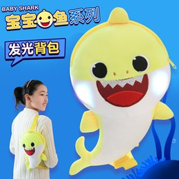 $enCountryForm.capitalKeyWord Australia - 3D light up Cartoon Baby Shark Plush Backpack for Children Cute Plush School Bag for Girls Boys Animal Backpack Mini Cartoon Preschool Bag