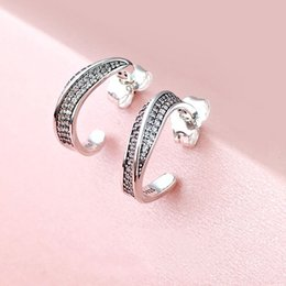 Wave earrings online shopping - New elegant wave earrings for Pandora silver fashion high quality ladies earrings jewelry hot