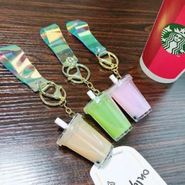 coconuts oil 2019 - Creative Mini Soft Drink Keychain Coconut Milk Beverage Bubble Acrylic Moving Liquid oil Drop decompression Jewelry gift
