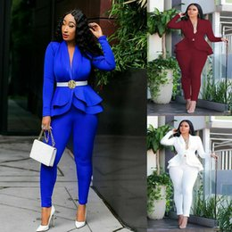 blue office suit Australia - Royal Blue Mother of the Bride Suits Ruffles Formal Ladies Office Work Female Uniform Party Evening Wear For Wedding(Jacket+Pants)