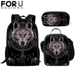 $enCountryForm.capitalKeyWord Australia - FORUDESIGNS 3Pcs Set Children School Bag for Boys Wolf Totem 3D Print Orthopedic Backpack Kids Book Bags Men's Cool Travel Bag