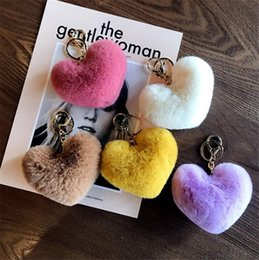 $enCountryForm.capitalKeyWord Australia - New Rabbit Fur Heart Shape Keychain Soft Fur Lovely Gold Metal Key Chains Pom Poms Plush Keychain Car Keyring Bag Earrings Accessories