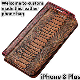 $enCountryForm.capitalKeyWord Australia - QX15 Ostrich Foot Pattern Gneuine Leather Flip Phone Bag For iPhone 8 Plus Magnetic Case With Kickstand iPhone 8 Plus Phone Case