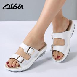 $enCountryForm.capitalKeyWord Australia - O16u Summer Women Sandals Shoes Platform Leather Buckle Flats Light Soft Ladies Casual Heel Comfortable Slides White Black Blue Y19070203