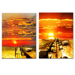 art canvas prints Australia - 2 Panels Canvas Painting Boat Wooden Bridge Picture Prints Landscape Artworks Modern Wall Art for Home Living Room Decor Stretched Framed