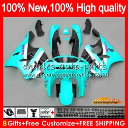 kawasaki zx6r 95 96 97 UK - Body For KAWASAKI ZX 636 600CC ZX-636 ZX6R 94 95 96 97 50HC.80 ZX636 ZX-6R ZX600 cyan black ZX 6 R 6R 1994 1995 1996 1997 Full Fairing kit