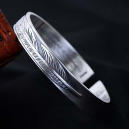 engraved sterling silver bracelet NZ - Wholesale 925 Sterling Silver Women Men Bangle Bracelet Retro Thai Black Silver Jewelry Engraved with Feather