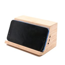 Wholesale Phone Holder Stand Wireless Speaker Near Field Magnetic Induction Wooden Speaker Stereo for iPhone Samsung Huawei Android Phones