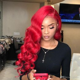 virgin peruvian hair red 2019 - Colorful Lace Front Wigs Red Color Body Wave Glueless Brazilian Virgin Pre Plucked Red Full Lace Color Human Hair Wigs W