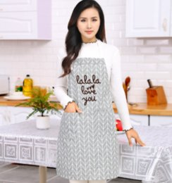 Cotton Cloth Apron Australia - Cotton and linen cloth art plain checked apron oil - proof cleaning kitchen work clothes half apron