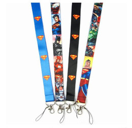 superman chains Canada - Free Shipping Cartoon Superman Super hero Neck Lanyard key chain Mobile cell phone neck straps charms