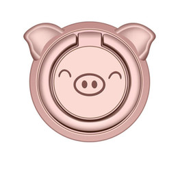 Car phone holder Cute online shopping - Cute pig ultra thin mobile phone ring buckle bracket magnetic car phone holder FOR IPHONE Samsung Huawei OPPO and other mobile phones
