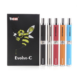 E Cigarette Battery Coil Australia - 100% Original Yocan Evolve-C Vape Pen Starter Kit Dab Pen Wax Vaporizer 650Mah E Cigarette Battery with Quartz Coil Empty Vape Cartridges