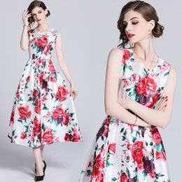luxury print maxi dress Canada - Luxury Women's Summer Spring Crew Neck Vintage Floral Printed Party Pleated Dress Office Ladies Sexy Sleeveless Slim Maxi Dresses
