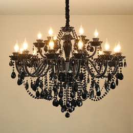 $enCountryForm.capitalKeyWord NZ - Black Glass Chandelier Living Room Crystal Chandelier Lighting Dining Room Bedroom Hanging Lamp Villa Hotel Clothing Store Art Pendant lamps