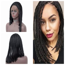 cheap afro full lace wigs Australia - Fashion Afro Women 14-26inch Synthetic Braided Lace Front Wig Short Black Box Braids Heat Resistant Full Density Cheap Wigs with Baby hair