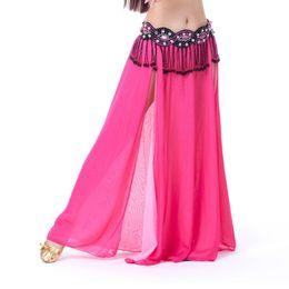 Belly Costumes Australia - Women Belly Dance Costume Chiffon Skirt 2 Side Slik Skirt Dress 8 Colors Lady New