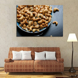 $enCountryForm.capitalKeyWord NZ - A Bowl Of Fried Cashew Nuts Frameless Painting Print And Poster Modern Kitchen Wall Decoration HD Printing Good Food Canvas Art