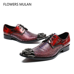 05ed78ef15ee men cool dress shoe laces 2019 - High Class Red Snake Pattern Leather Men  Dress Shoes