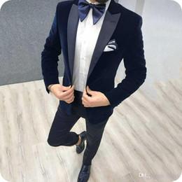 $enCountryForm.capitalKeyWord Australia - Latest Designs Blue Velvet Groom Tuxedos Men Suits for Wedding Black Peaked Lapel Casual Smoking Jacket Wool Blend Pants 2Piece Man Blazer