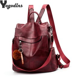 large leather travel bag women NZ - Girl Hairball Pu Leather Backpack Women Travel Knapsack Classic Large Capacity Rucksack Casual Students School Bag Lady PackageMX190822