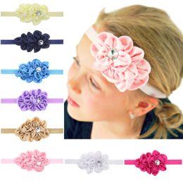 Satin ornamentS online shopping - 12 Colors Baby Girls headbands Satin Flowers Kids Children Hair Bands Ornaments Infant Hair Accessories Headbands Photo Props PKHA129
