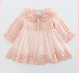 $enCountryForm.capitalKeyWord Australia - 2019 Autumn Infant kids dress girls lace embroidery falbala lapel flare sleeve princess dress baby Bows tie pearls buckle party dress F8708