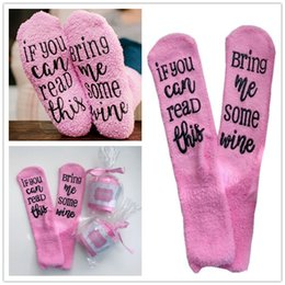 Funny Christmas Socks Canada - Winter Warm Socks IF YOU CAN READ THIS Bring Me Some Wine Letter Christmas Socks Pink Pile Loop Stockings Unisex Funny Socks Gift