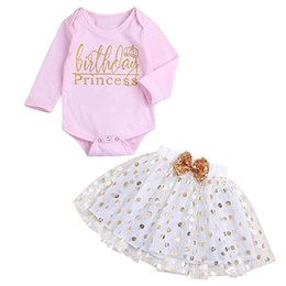 e6e00b08038d 2PCS Kids Clothes Toddler Kids Baby Girls Long Sleeve Letter Printed Romper  Jumpsuit+Dot Bubble Skirt Set Clothes Baby Set S12 F