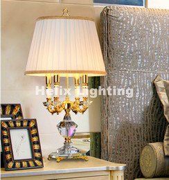 led wedding candelabras UK - D400mm H700mm Golden Crystal Table Lamp Desk Light Wedding Candelabra for Table Lamp E14 AC 100% Guaranteed Free Shipping Home Decoration