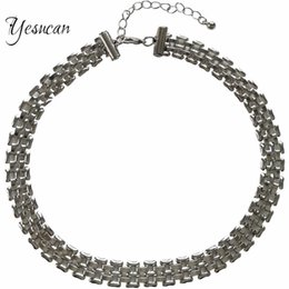 Gothic Chains Australia - Yesucan Hyperbole Geometric Metal Chain Necklace for Rock Hiphop Men Gothic Punk Choker Jewelry Clavicular Chain Bijoux