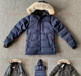 Coyote Kürk Kış Ceket Erkek ler Aşağı Parkas Kuzey Erkekler Kaz Tüyü Ceket Kapüşonlular Kürk Parka C Puffer G Coats Kalınlaşmak Isınma Carson E14 3XL indirimde
