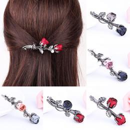 Christmas Gifts Hair Accessories Rhinestone Leaves Barrettes Ponytail  holder Crystal Rose Flower Black Hair Clip 1PC Women 0ddbe1bc97b1